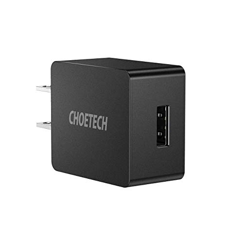 USB Wall Charger, CHOETECH UL Certified 12W 2.4A Ultra-Compact Travel Wall Charger Compatible with iPhone X/XS/XS Max/XR/8/8 Plus, iPad Pro/Air 2/Mini 3/Mini 4, Samsung S4/S5