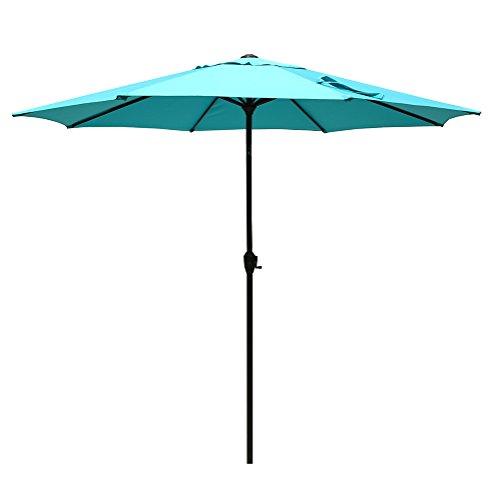 Le Papillon 9 ft Luxurious Outdoor Patio Umbrella Aluminum Table Market Umbrella 250/gsm Crank Lift Push Button Tilt, Blue (Blue Outdoor Table)