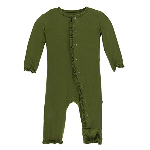 Kickee Pants Little Girls Solid Layette Classic Ruffle Coverall with Snaps - Pesto, 0-3 Months