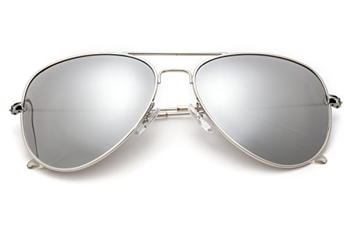 YuFalling Polarized Aviator Sunglasses for Men and Women (silver frame/silver lens(clear legs), ()