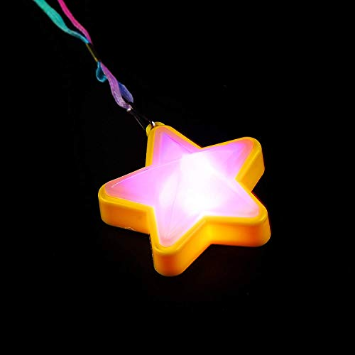 Fun Central M880, 6 pieces 13 Inches Assorted LED Flashing Star Necklaces, Light up Necklace, Light Up Toys for Kids, Glow in the Dark Star Necklace for Rave and Disco -