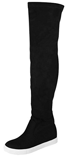 Glaze Women's Trendy Lounge High Over-The-Knee Chic Sneaker Boots,10 B(M) US,Black