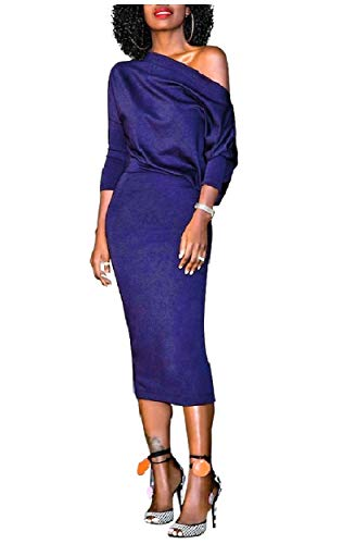 Howme-femmes Cocktail Une Épaule Couleur Pure En Dessous De La Robe Du Genou Bleu Saphir
