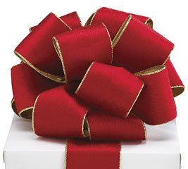 "Red Velvet Ribbon - Burton & Burton Red Velvet Wired Classic Traditional Wide Craft Ribbon with Metallic Gold Edges for Bow Creations, Weddings, Holidays, Christmas, Decoration - Red/Gold, 2.5"" x 20yds"