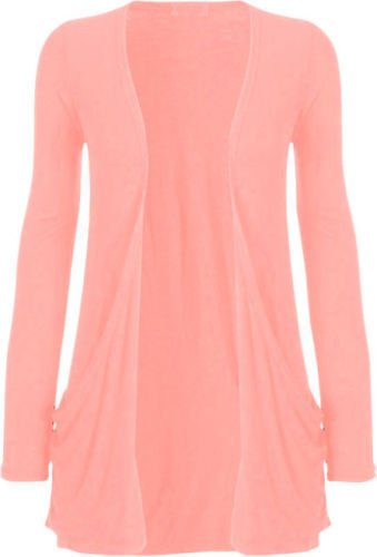 larga mujer abierto rosa melocot manga de Rebeca bolsillo q8atO7