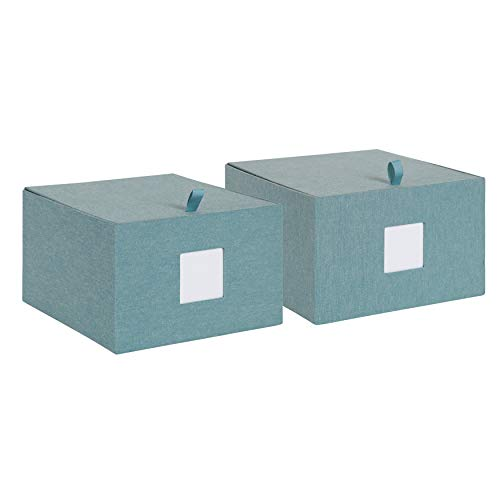 DesignOvation Sturdy Fabric Wrapped Decorative Memory Photo and Memento Organizer/Storage Boxes with Hinged Lids, Includes Dividers, Set of 2, Teal ()