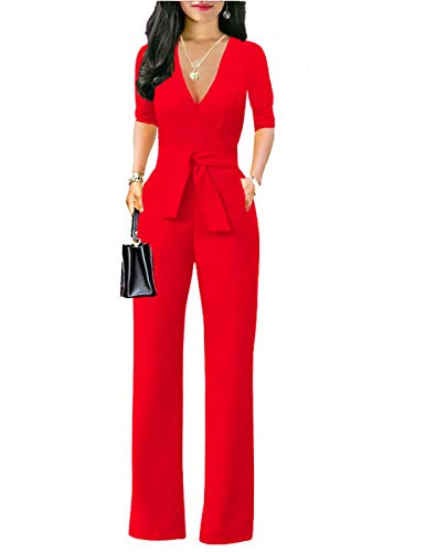 Women's Elegant Solid Jumpsuit High Waisted Wide Leg Pants Jumpsuits Romper with Belt Red 2XL
