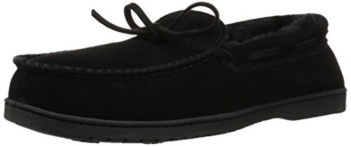Dearfoams Men's Suede Moccasin Slipper, Black, 11 Regular US (Patio And Company The Deck)