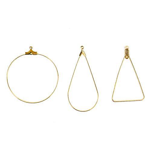 Monrocco 30PCS Gold Plated Teardrop Triangle Shaped Wine Glass Charm Rings Beading Hoop Earring Finding Components for DIY Making Findings