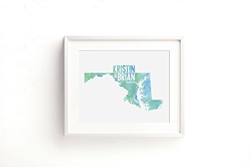 (Custom Maryland or ANY State or Country Wedding Art Print Decor - gift for couple or anniversary - watercolor)
