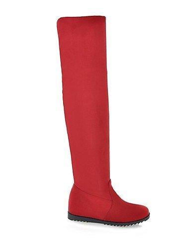 Bajo Cn39 Uk4 Mujer 5 Vestido Negro Punta Grey Xzz Eu39 Botas Tacón Uk6 us6 Eu37 A 5 La De Cuero 5 Redonda Gris Rojo Zapatos us8 Sintético 7 Red Cn37 Marrón Moda IcqfB