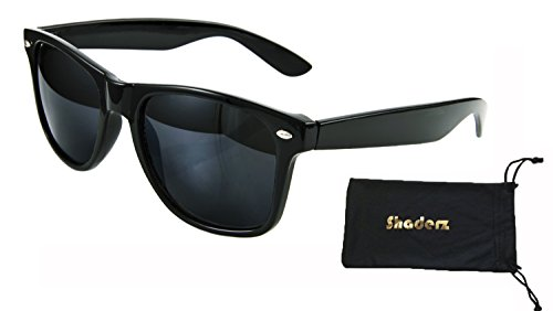 Shaderz Classic Eyewear Glossy Black Retro 80's Sunglasses with - Sunglasses Monocle
