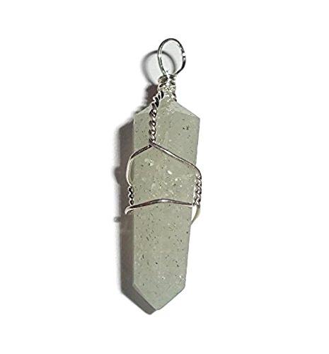 1pc Aquamarine Premium Crystal Cut Healing Gemstone Wire Wrapped with Loop Point Pendant (Aquamarine Healing Crystal)