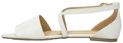 Cambridge Select Womens Cross Over Ankle Strappy Buckle Open Toe Flat Sandal White VOT1z3