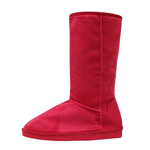 Guilty Heart | Womens Comfortable Walking Mid Calf Warm Winter Fur Slip On Boots, Red Suede, 6.5 B(M) US