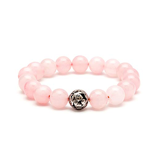 eletout Handmade 10mm Round Natural Semi Precious Gemstone Beaded Stretch Ornament Bracelets (Pink Crystal & Hollow Bead) ()