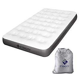 Etekcity Camping Air Mattress, Inflatable Mattress Air Bed Twin with Coil Beam Technology, Height 9″, Carry Bag, White, No Pump Included