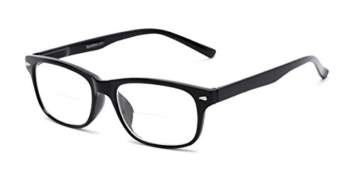 82e388f336e0 Readers.com Bifocal Reading Glasses  The Williamsburg Bifocal for Men and  Women - Stylish Retro Square Bifocal Readers - Black +1.00