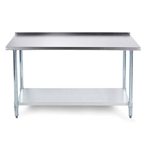 "ARKSEN 48"" x 24"" 18 Gauge Universal Adjustable Undershelf Prep Table w/Backsplash, NSF Certified"
