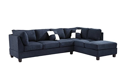 Glory Furniture G630-SC Sectional Sofa, Navy Blue, 2 boxes