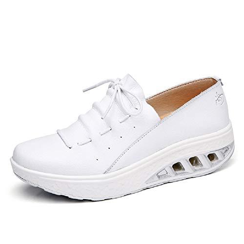 De Grande Chaussures Formateurs Occasionnels Marche coloré Sole 42 Fuxitoggo Blanc Blanc Eu Rocker Doux Taille Femmes Cuir dt1wvq