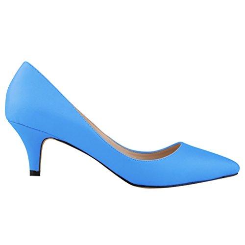 WanYang Chaussures Haut Escarpin en Pointue Nu Cheville Bride Bleu pieds Cuir Femme Lanière Soirée Talon rfwUqr