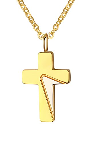 - XUANPAI 18k Gold Plated Stainless Steel Small Cross Tiny Pendant Bar Necklace Women Girls,20 inch Cable Chain