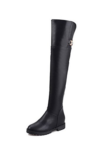 WeenFashion Women's and PU Low-Heels Round-Toe Boots with Platform and Women's Rubber Soles B016EM5GG0 Parent 62a6bf