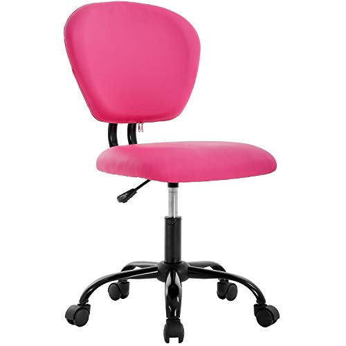 Office Chair Ergonomic Desk Chair PU Leather Executive Chair Rolling Swivel Adjustable Computer Chair with Lumbar Support for Women, Men (Pink)