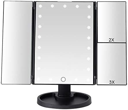 22 LEDライトタッチスクリーン化粧鏡1X / 2X / 3X / 10倍拡大鏡3折りたたみ化粧コンパクトミラー柔軟化粧品ミラー