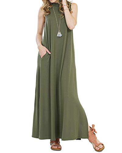 Mongolulu Women Spring Sleeveless Round Neck Pockets Swing Long Dress Army Green M