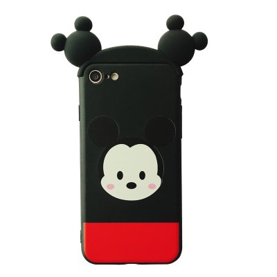 newest 02588 59daf Soft TPU Movable Ears Red Black Mickey Mouse Case for Apple iPhone 6 6s  iPhone6 Disney Tsum Tsum 3D Cartoon Cute Lovely High Fashion Fun Cool  Special ...