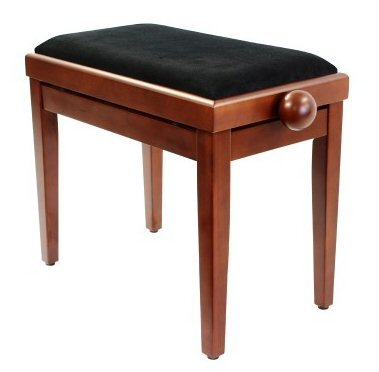 Legato Piano Bench with Cushioned Seat and Adjustable Height - Satin Cherry by Legato @ 1to1Music