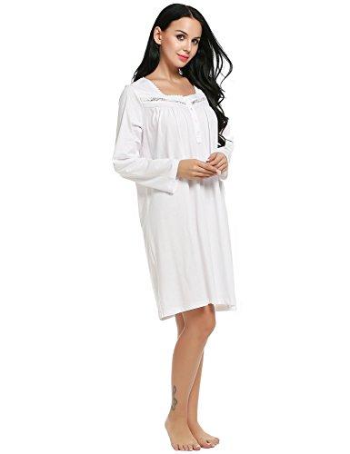 Teamyy Ropa interior Ropa de dormir Camisón Pijama para mujer BLANCA