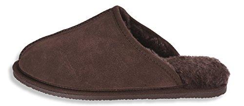 Nordvek Sheepskin Slipper Mens - Comfortable Non Slip Hard Sole # 433-100 Chocolate wXJSSPAM