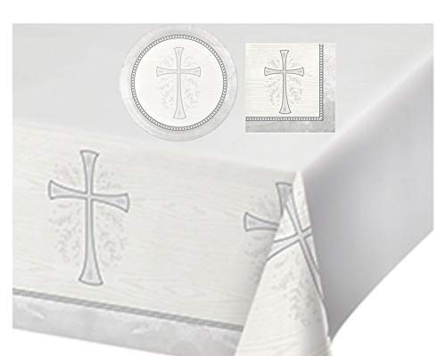 - Inspirational Religious Party Supplies: Bundle Includes Dessert Plates, and Napkins for 8 People, Plus a Table Cover, in a Divinity Cross Design (Silver)