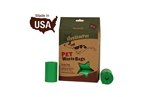 FiveStarPet 120 Count, 9 x 14.25 Poop Bags Dog Waste Bags, Made in USA, 8 Refill Rolls, Green