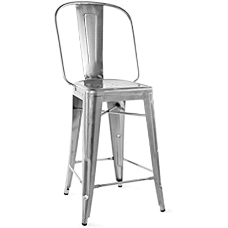 Dreux Gunmetal Steel Counter Chair 26 Inch Set Of 4