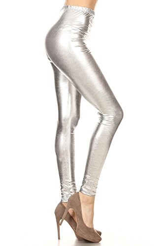 Abyelike Womens Sexy Shiny Faux Leather Leggings Wet Look Metallic Waist Legging Pants Trousers,Silver,XL