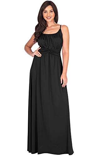 KOH KOH Womens Long Sexy Spaghetti Strap Sleeveless V-Neck Summer Beach Formal Bridesmaid Wedding Guest Party Floor Length Flowy Gown Gowns Maxi Dress Dresses, Black 3XL 22-24