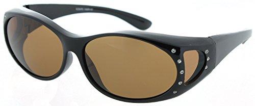 Frame Brown Lenses Rhinestones - Fiore Polarized Fit Over Sunglasses (Polarized Rhinestone - Black Frame/Brown Lens)