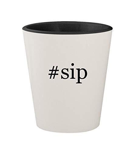 #sip - Ceramic Hashtag White Outer & Black Inner 1.5oz Shot Glass