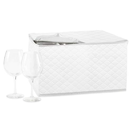 Constructed of Heavy Duty Quilted Stemware Saver in White by MattsGlobal