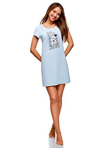 oodji Ultra Women's Lounge Cotton Dress with Print, Blue, US 6 / EU 40 / M Abstract Print Mini Dress