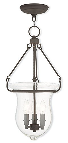 Livex Lighting Glass Pendant - Livex Lighting 50296-07 Bronze Pendant with Clear Glass