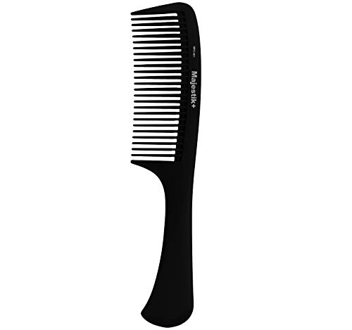 Majestik+ Hair Comb- A Professional Handle Carbon Fibre Detangling Comb Strength & Durability, Large Tooth, Black, With Bespoke PVC Product Pouch 22.0 cm