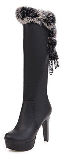 Aisun Womens Lace Élégant Up Toe Plate-forme Habillée Talon Haut Genou Bottes Hautes Avec Fausse Fourrure Noir