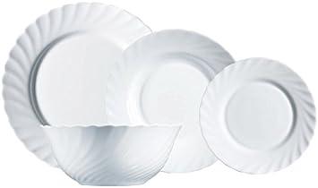 Luminarc Vajilla de Vidrio Opal Extra Resistente para 6 Personas, 19 Piezas, 100% higiénico, con ensaladera, Acero Inoxidable, Blanco