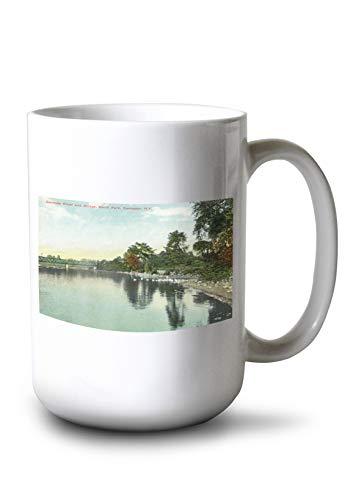 Lantern Press Rochester, New York - South Park View of Genesee River, Bridge (15oz White Ceramic Mug) ()