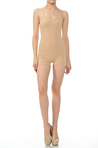 7Wins Women Catsuit Cotton Lycra Tank Spaghetti Strapped Short Yoga Bodysuit Jumpsuit S-Plus (Large, Khaki)